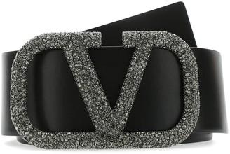 Valentino VRING Crystal Embellished Buckle Belt