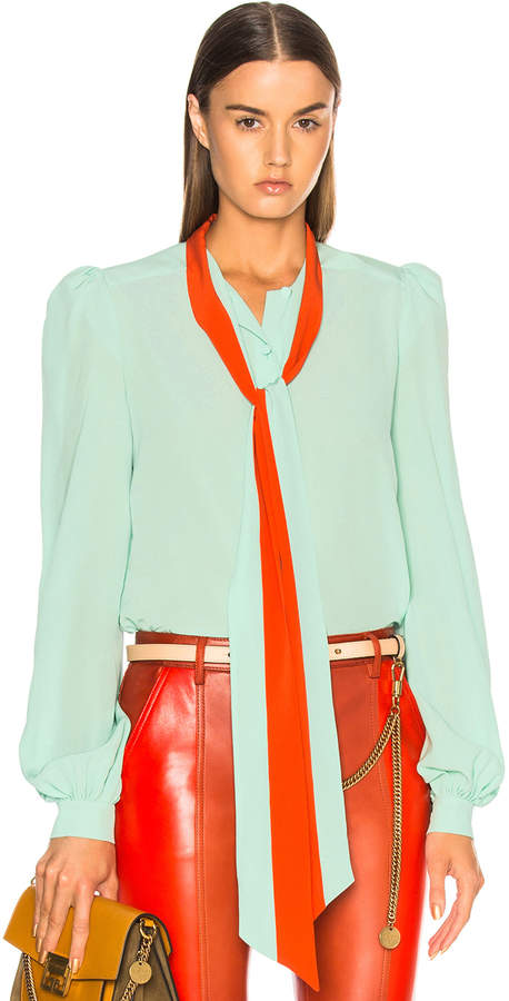 Givenchy Contrast Tie Neck Blouse