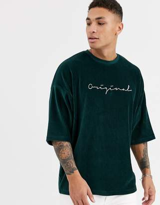 Asos Design DESIGN oversized cord t-shirt with original embroidery-Green