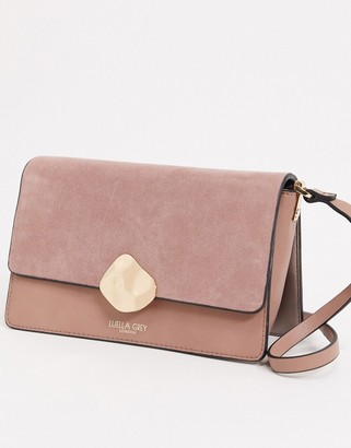 Luella Grey cross body bag in pink with contrast suede front flap and molten gold buckle