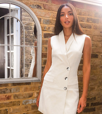 4th + Reckless Tall exclusive sleeveless blazer dress in white