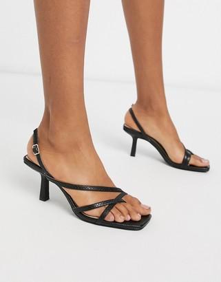 Raid Anina square toe strappy sandals in black snake