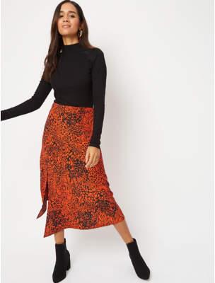 George Red Animal Print Midi Skirt