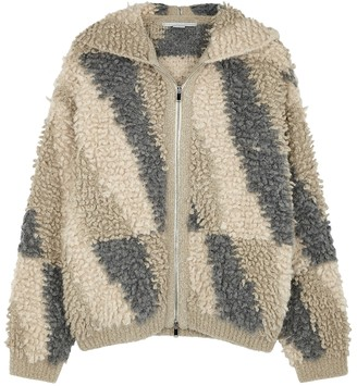 Stella McCartney Textured-knit hooded panelled jacket