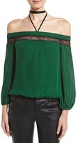 Alice + Olivia Esmeralda Off-The-Shoulder Neck-Tie Top, Medium Green