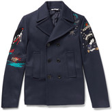 Valentino - Embroidered Wool-felt Peacoat