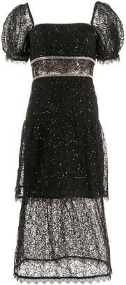 Self-Portrait Square Neck Sequin-Embellished Dress