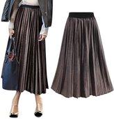 Imixcity Women Plus Size Elastic Waist A-line Pleated Skirt Dress 3XL