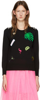 Marc Jacobs Black Embroidered Wool Pullover