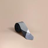 Burberry Slim Cut Check Silk Cotton Tie, Blue