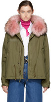 Mr and Mrs Italy Green and Pink Fur Collar Mini Parka