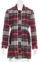 L'Agence Plaid Vegan Leather-Trimmed Coat