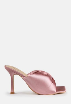 Missguided Rose Satin Bow Front Square Toe Heeled Mule Sandals