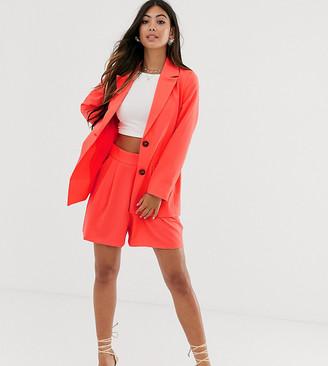 ASOS DESIGN Petite pop coral soft suit shorts