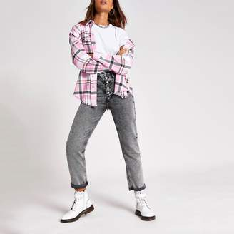 River Island Womens Pink check long sleeve loose fit shirt