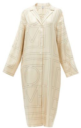 Totême Anet Monogram-embroidered Silk Midi Shirt Dress - Ivory