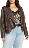 Halogen Peplum Faux Leather Moto Jacket