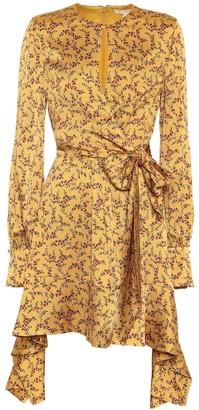 Jonathan Simkhai Floral hammered silk-satin dress