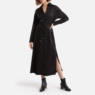 La Redoute Collections Printed Maxi Shirt Dress with Slit and Long Sleeves