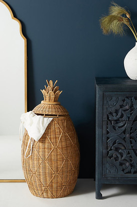 Anthropologie Pineapple Laundry Basket By in Beige Size ALL
