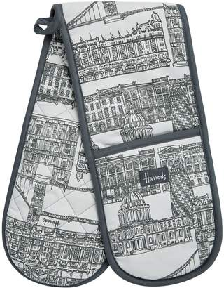Harrods New Brompton Road Print Double Oven Gloves