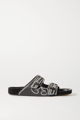 Isabel Marant Lennyo Embroidered Leather Slides - Black