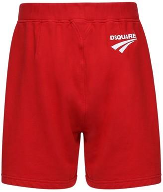 DSQUARED2 Logo Print Cotton Jersey Sweat Shorts