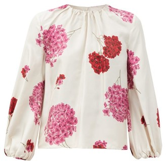 La DoubleJ Charming Gathered Floral-print Silk-faille Blouse - White Print