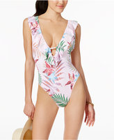 Bar III Palm Reader Printed Ruffled One-Piece Swimsuit