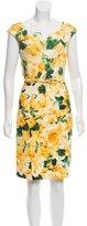 Oscar de la Renta Floral Print Belted Dress