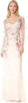 Marchesa Beaded Gown with Bishop Sleeve
