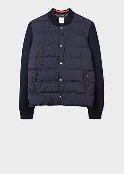 Men's Navy Down-Filled Bomber Jacket With Knitted Sleeves