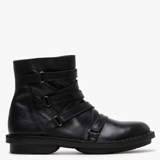 Fly London Felt Black Leather Cross Strap Ankle Boots