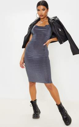 No Name Noname Grey Velvet Rib Cowl Neck Midi Dress