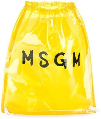 MSGM Clear Logo Print Backpack