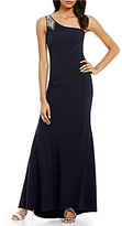 Vince Camuto One Shoulder Sleeveless Beaded Crepe Gown