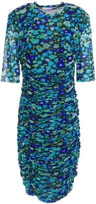 Ganni Ruched Floral-print Stretch-mesh Dress
