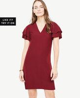 Ann Taylor Double Ruffle Sleeve Shift Dress