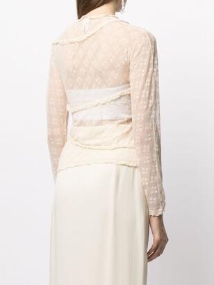 yuhan wang Sheer Floral Embroidered Blouse