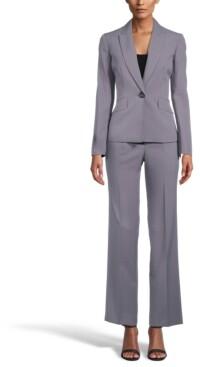 Le Suit One-Button Flap-Pocket Pinstripe Pantsuit