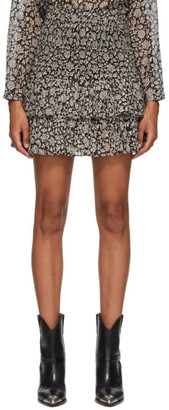 Etoile Isabel Marant Black and Beige Naomi Miniskirt