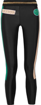 P.E Nation On Deck Appliquéd Striped Stretch-jersey Leggings