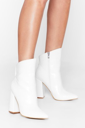 Nasty Gal Womens Slant You See Faux Leather Croc Boots - White