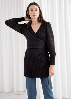 And other stories Plisse Pleated Mini Wrap Dress