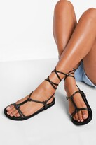 Thumbnail for your product : boohoo Leather Knot Detail Wrap Strap Espadrilles