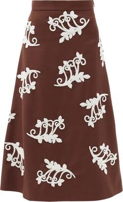 Prada Bead-embellished Mohair-blend Midi Skirt - Brown