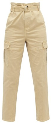Frame Safari Belted Cotton-blend Twill Cargo Trousers - Womens - Beige