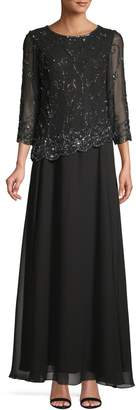J Kara Long-Sleeve Beaded Embellished Gown
