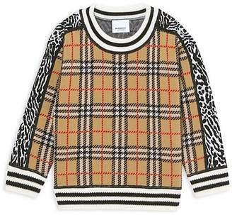 Burberry Little Girl's & Girl's Leopard & Plaid Sweater