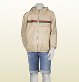 Gucci Beige Leather Jacket With Hood